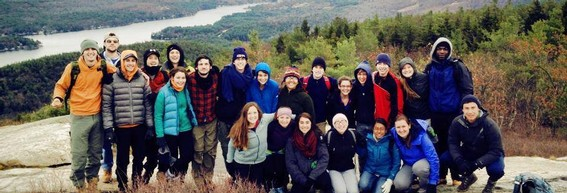 Students hiking Mt. Major in New Hampshire on a Hiking Excursion