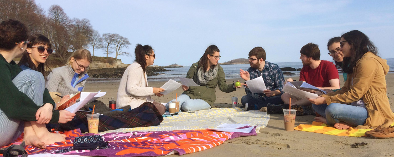 writing class on the beach