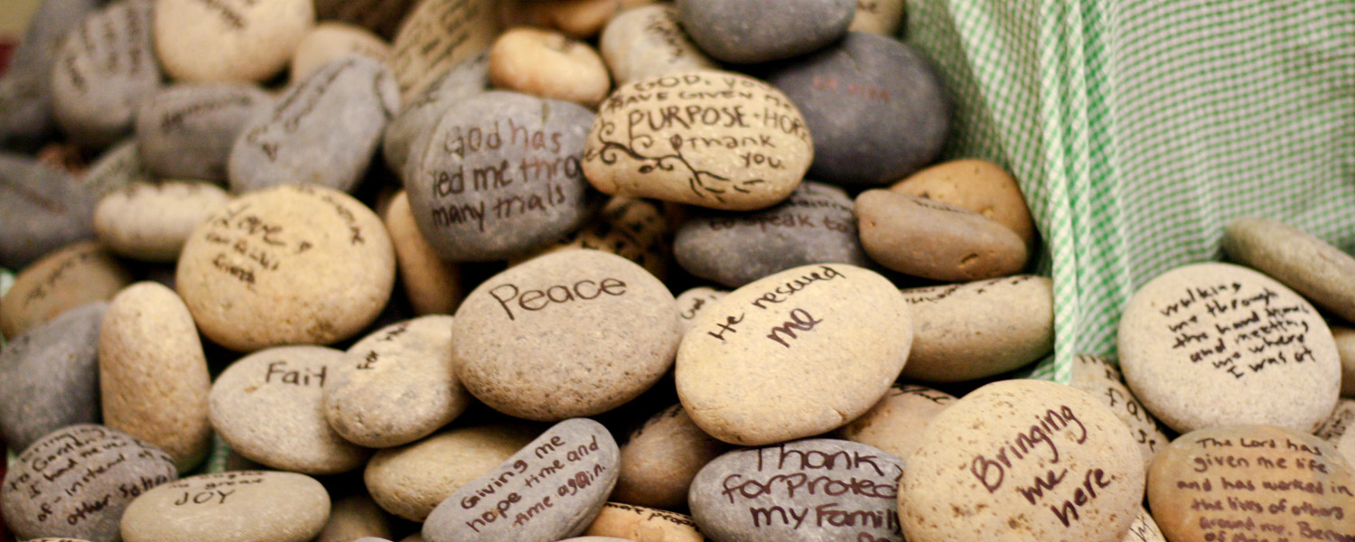 stones with prayers written on them