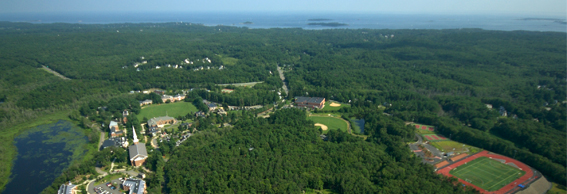 Aerial view of Gordon's campus