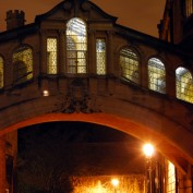Stone archway at night
