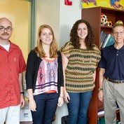 Professors Mike Veatch and Jonathan Senning with students Olivia Gray and Juliann Booth