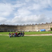 Students in front of The Royal Crescent in Bath, England