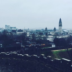 A rainy day in Cardiff from the castle