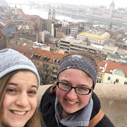 Leah and Christine with Budapest Parliament building in background