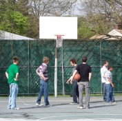 Playing on the courts.