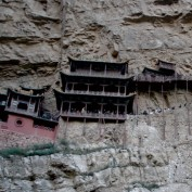 A monastery built into the side of a cliff