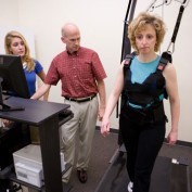 Dr. Peter Iltis (Kinesiology) working with a client on the Active Step treadmill