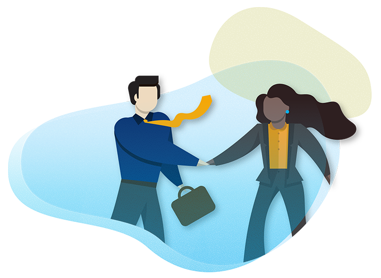 Illustration of man and woman working