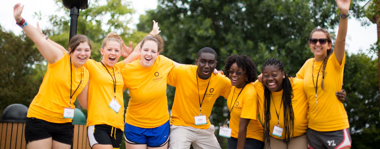 Orientation staff welcoming students