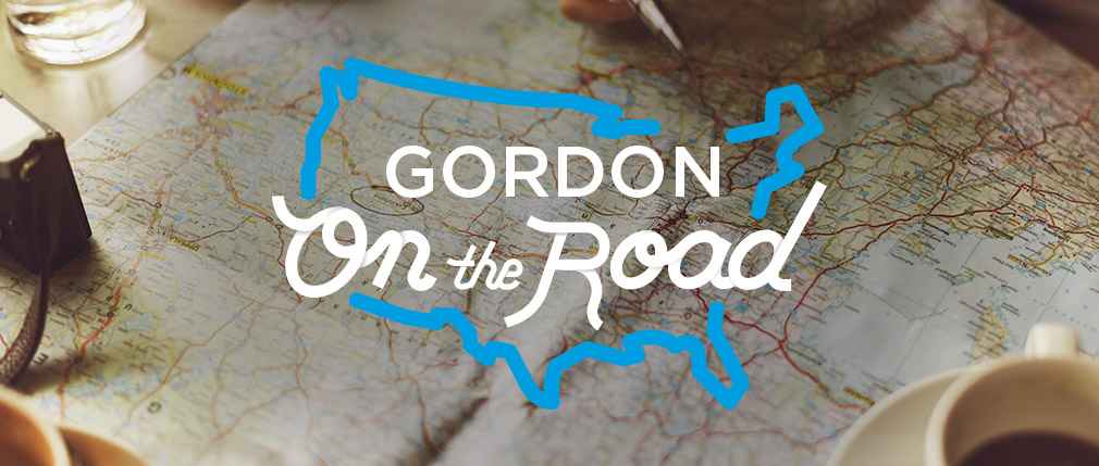Gordon on the Road lettering over a map