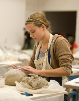 Student working in sculpture lab