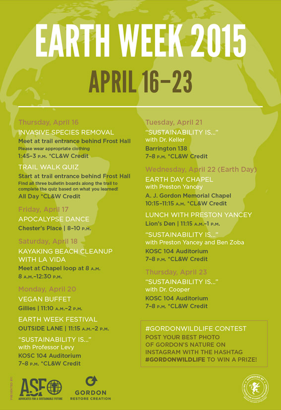 Earth Week Schedule