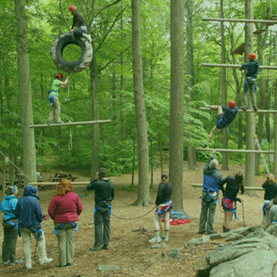 Group on ropes course element