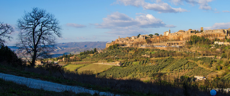 view of Orvieto from trail