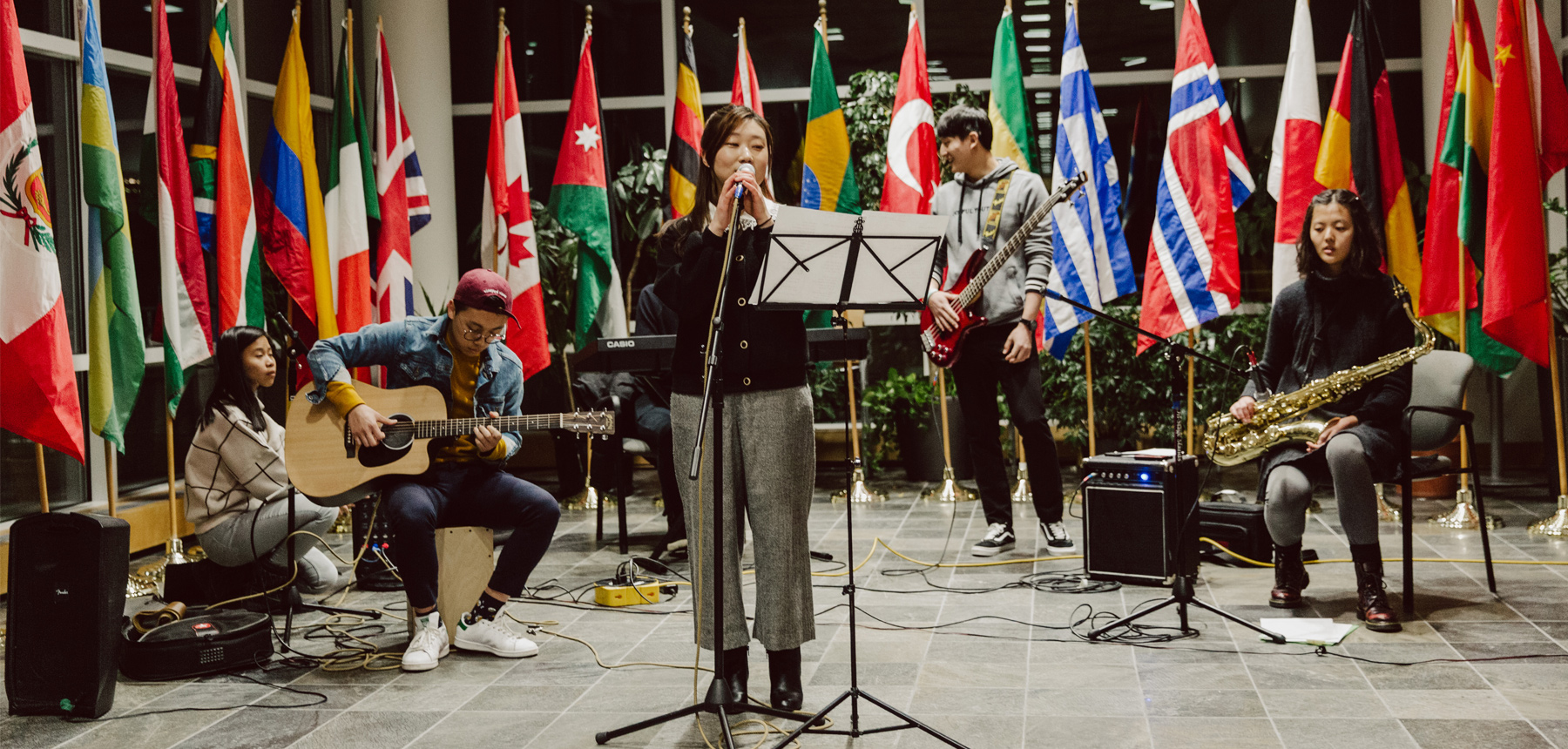 international students performing music