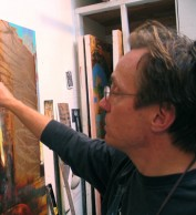Bruce Herman works on a Crucifixion scene