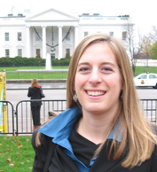 Kate Kirby in front of the White House